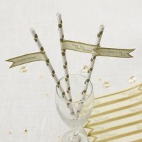 Chic Boutique Straw Flags - Ivory & Gold (30)